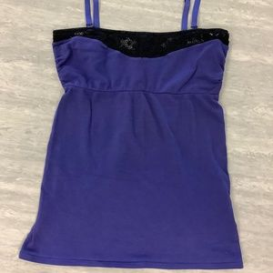 SALE! Free People blue tank with black lace